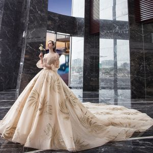 Stunning Champagne Wedding Dresses 2019 Princess Off-The-Shoulder Puffy 3/4 Sleeve Backless Beading Glitter Tulle Royal Train Ruffle