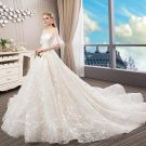 Elegant Champagne Wedding Dresses 2018 Ball Gown Lace Star Pearl Scoop Neck Backless Short Sleeve Royal Train Wedding