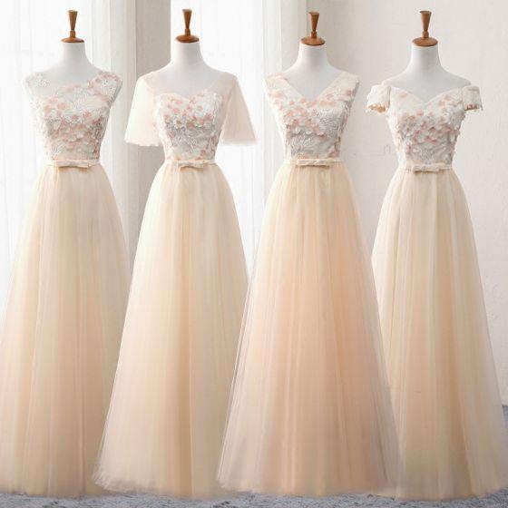 Chic / Belle Champagne Robe Demoiselle D'honneur 2018 Princesse Appliques Fleur Noeud Ceinture Longue Volants Dos Nu Robe Pour Mariage