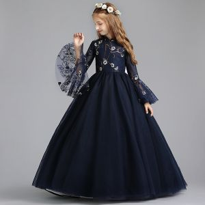 Chinese style Navy Blue Flower Girl Dresses 2019 A-Line / Princess High Neck Long Sleeve Embroidered Flower Pearl Floor-Length / Long Ruffle Wedding Party Dresses