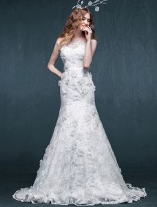 2015 Exquisite Trumpet Mermaid Applique Flowers Lace Wedding Dress