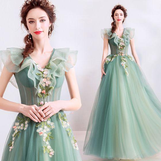 Elegantes Verde Salvia Vestidos de gala 2019 A-Line / Princess Ruffle V-Cuello Con Encaje Flor Apliques Sin Mangas Sin Espalda Largos Vestidos Formales