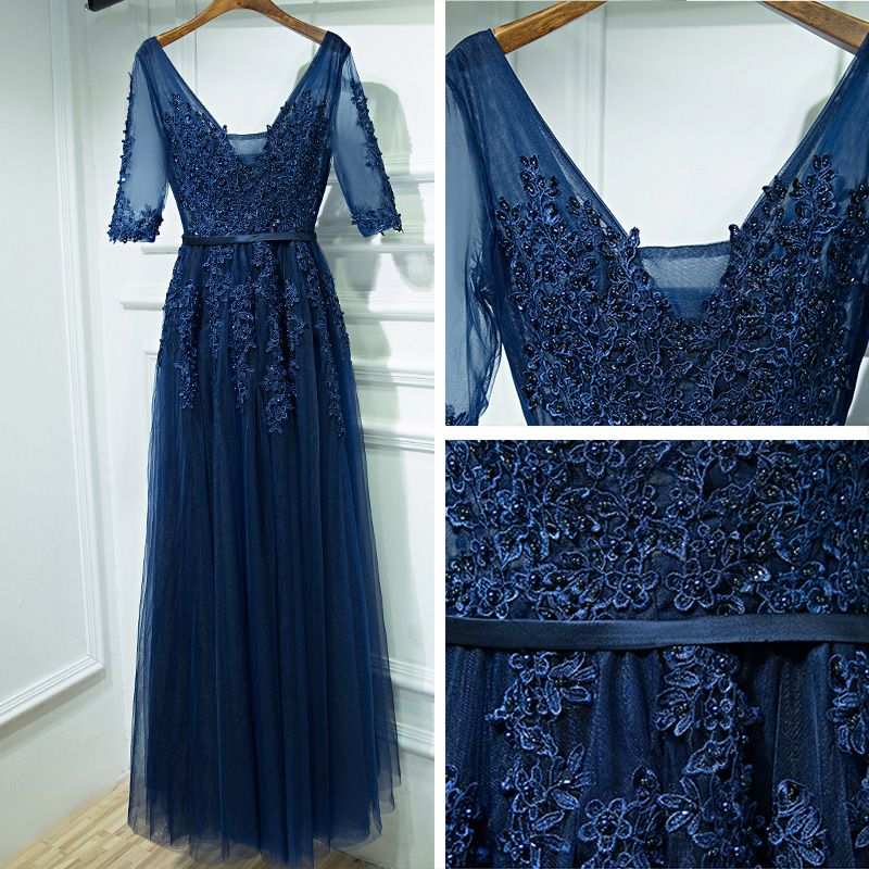 Modest / Simple Navy Blue Wedding Party Dresses Bridesmaid Dresses 2017 Lace Flower Sequins V-Neck Ankle Length Bridesmaid 1/2 Sleeves Empire