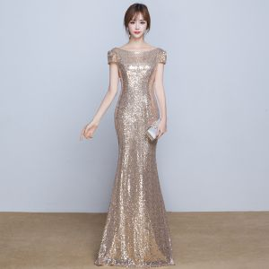 Sparkly Formal Dresses 2017 Evening Dresses  Gold Sequins Trumpet / Mermaid Floor-Length / Long Scoop Neck Short Sleeve Backless