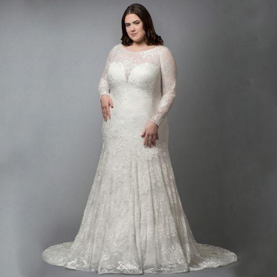 Vintage / Retro White Plus Size Wedding Dresses 2020 Trumpet / Mermaid Long Sleeve 3D Lace Appliques Embroidered Handmade  Court Train Wedding