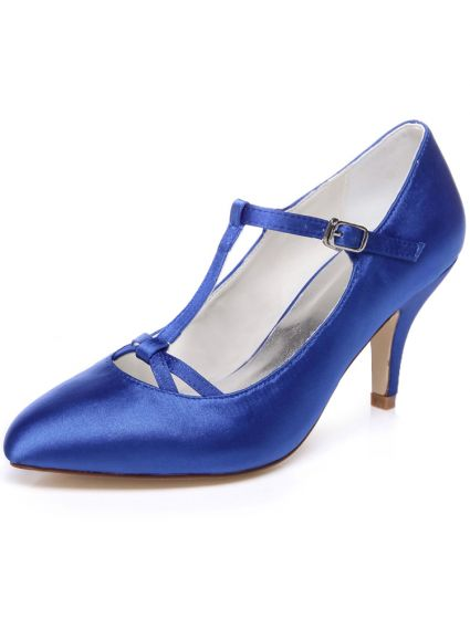 Classic Blue Wedding Shoes 3 Inch Stiletto Heels Pumps Satin Bridal Shoes With Ankle Strap