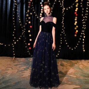 Elegant Navy Blue See-through Evening Dresses  2019 A-Line / Princess High Neck Short Sleeve Glitter Tulle Floor-Length / Long Ruffle Formal Dresses