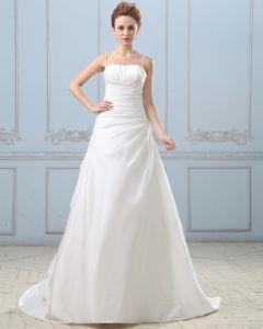 Taft Falten Gericht Reich Hochzeitskleid Brautkleider