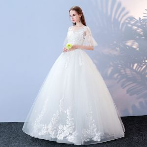 Affordable White Wedding Dresses 2017 Ball Gown V-Neck 1/2 Sleeves Backless Appliques Lace Sequins Pearl Floor-Length / Long