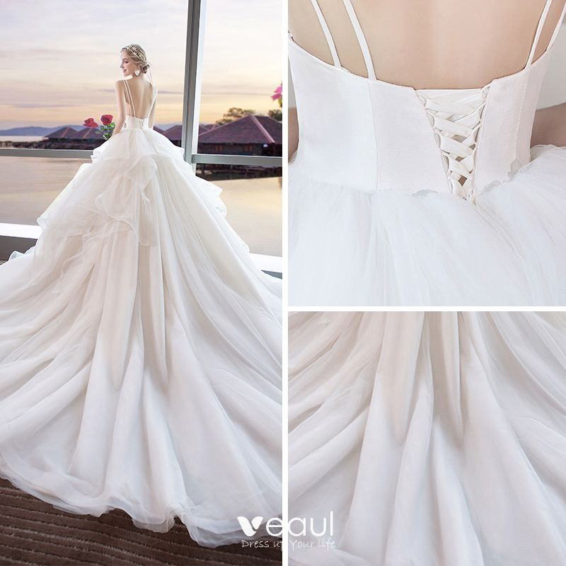 Modern / Fashion Ivory Wedding Dresses 2018 Ball Gown Shoulders Spaghetti Straps Sleeveless Backless Appliques Lace Sequins Cathedral Train Ruffle