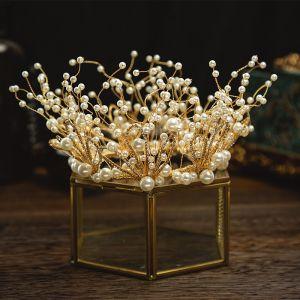Charmant Gold Brautschmuck 2020 Legierung Metall Strass Perle Diadem Quaste Ohrringe Hochzeit Brautaccessoires
