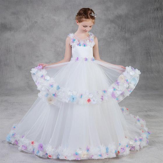 Wróżka Kwiatowa Białe Sukienki Dla Dziewczynek 2020 Suknia Balowa Wycięciem Bez Rękawów Bez Pleców Aplikacje Kwiat Rhinestone Trenem Sweep Kaskadowe Falbany