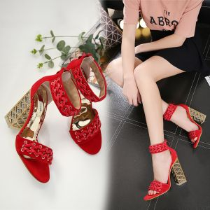 Traditional Red Evening Party Braid Womens Sandals 2020 Ankle Strap 12 cm Thick Heels Open / Peep Toe Sandals