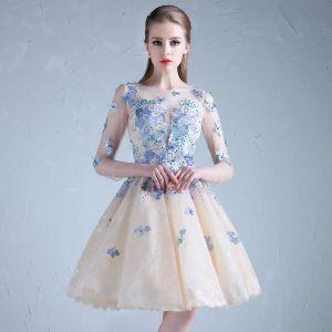 Chic / Belle Bleu Ciel Robe De Cocktail 2018 Princesse Tulle U-Cou Appliques Dos Nu Perlage de retour Cocktail Robe De Graduation