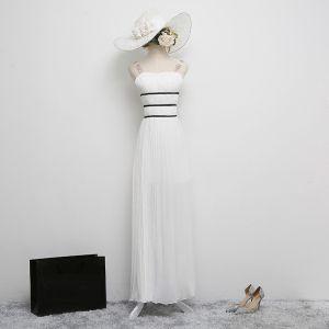 Klassisch Elegante Weiß Abendkleider 2017 A Linie Chiffon Rückenfreies Pailletten Gestreift Abend Festliche Kleider