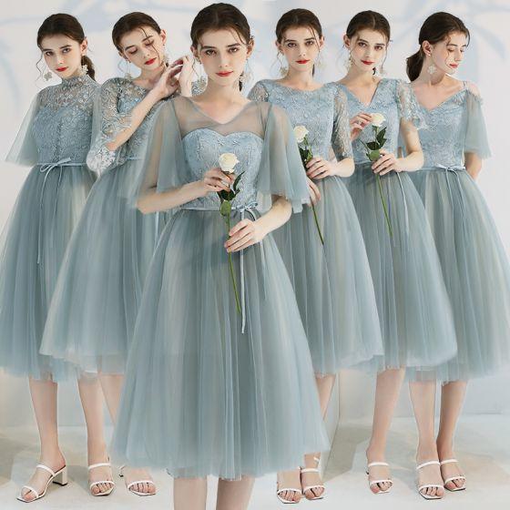 Erschwinglich Grün Brautjungfernkleider 2019 A Linie Applikationen Spitze Rüschen Stoffgürtel Wadenlang Rückenfreies Kleider Für Hochzeit