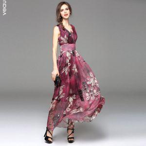 Été Bordeaux Chiffon Robes longues 2018 Empire V-Cou Sans Manches Impression Fleur Longueur Cheville Volants Vêtements Femme