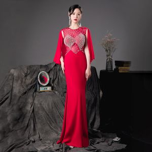 Fashion Red See-through Evening Dresses  2020 Trumpet / Mermaid Scoop Neck Sleeveless Beading Pearl Floor-Length / Long Formal Dresses