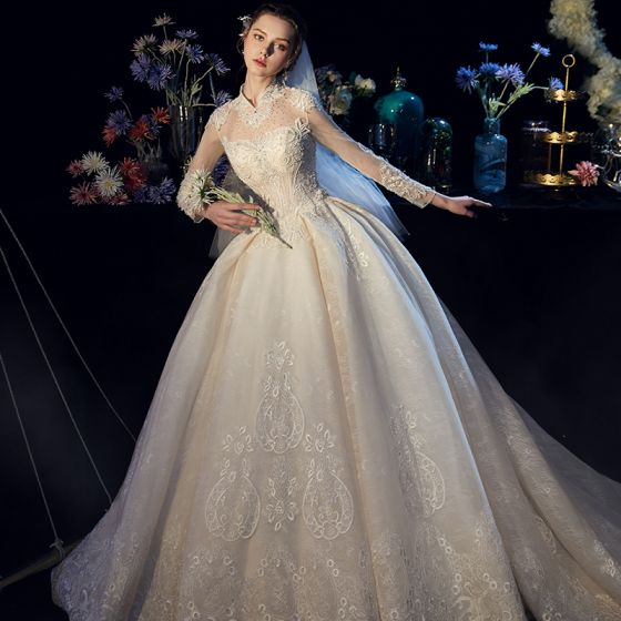 Luxury / Gorgeous Chinese style Ivory See-through Wedding Dresses 2019 Ball Gown High Neck Long Sleeve Backless Handmade  Beading Chapel Train Ruffle