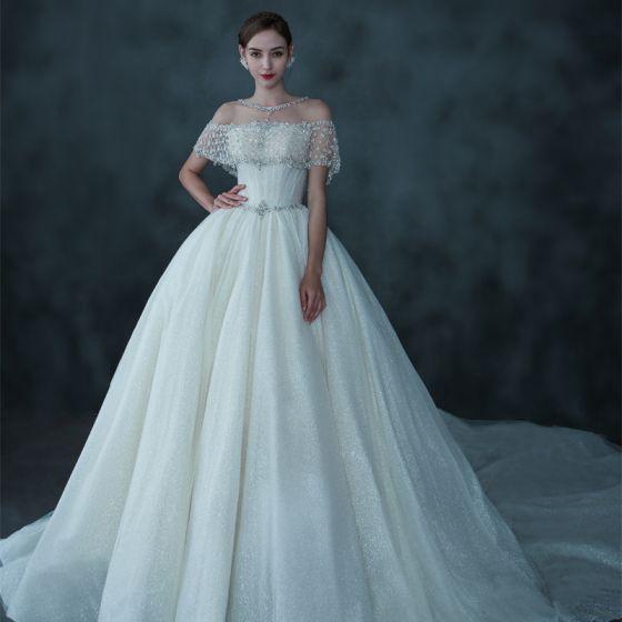 Lyx Champagne Genomskinliga Brud Bröllopsklänningar 2021 Balklänning Urringning Korta ärm Halterneck Beading Paljetter Glittriga / Glitter Tyll Cathedral Train Ruffle