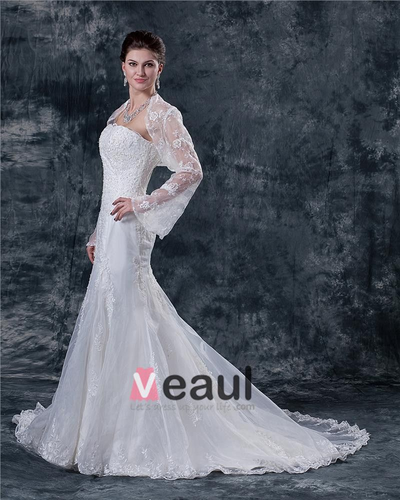 Lace Beading Sweetheart Neck Sheath Wedding Dress