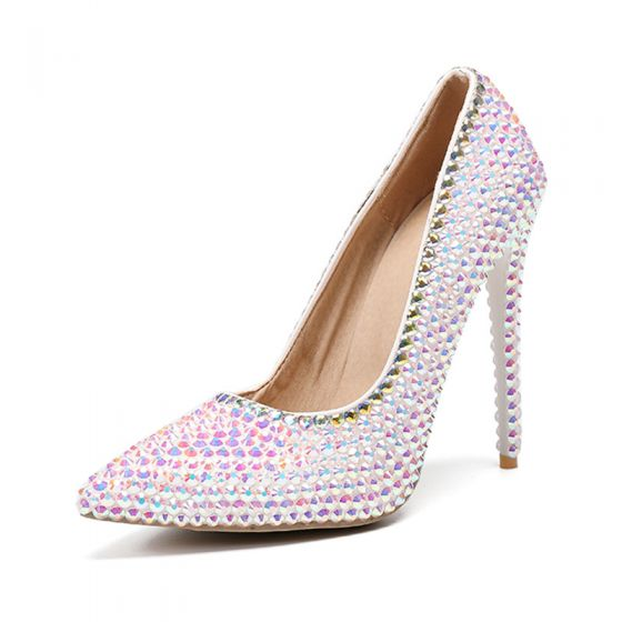 Charming Multi-Colors Rhinestone Evening Party Pumps 2020 11 cm Stiletto Heels Pointed Toe Pumps