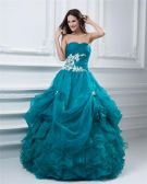 Ball Gown Organza Satin Ruffle Sweetheart Floor Length Quinceanera Prom Dresses