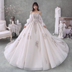 Victorian Style Champagne Bridal Wedding Dresses 2020 Ball Gown Sweetheart Detachable Puffy Long Sleeve Backless Beading Appliques Sequins Cathedral Train