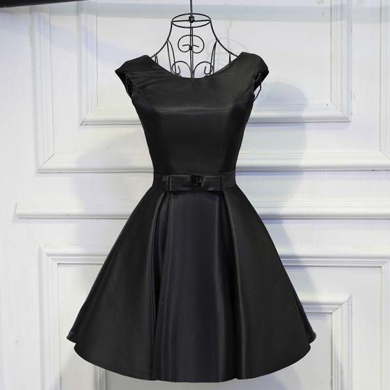 Śliczny Czarne Sukienki Wizytowe 2017 Kokarda Bez Pleców Wycięciem Krótkie Suknia Balowa Sukienki Na Studniówke