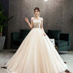 Classy Champagne Wedding Dresses 2019 A-Line / Princess Scoop Neck Beading Lace Flower Sequins Short Sleeve Backless Sweep Train