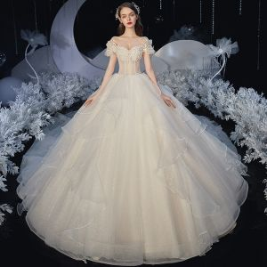 Elegant Champagne Corset Wedding Dresses 2020 Ball Gown Off-The-Shoulder Short Sleeve Backless Rhinestone Glitter Tulle Cathedral Train Ruffle