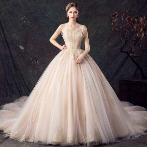 Classy Champagne Wedding Dresses 2019 Princess Sweetheart Sleeveless Backless Appliques Lace Beading Cathedral Train Ruffle