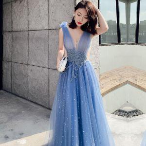 Sexy Meeresblau Abendkleider 2019 A Linie Tiefer V-Ausschnitt Ärmellos Perlenstickerei Glanz Tülle Lange Rüschen Rückenfreies Festliche Kleider