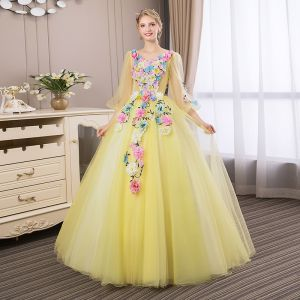 Affordable Flower Fairy Yellow Prom Dresses 2018 Ball Gown Appliques V-Neck Backless 3/4 Sleeve Floor-Length / Long Formal Dresses