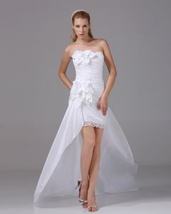 Strapless Flower Pleated Asymmetrical High Low Taffeta Woman Mini Wedding Dress
