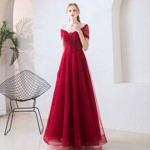 Elegant Burgundy Prom Dresses 2019 A-Line / Princess Off-The-Shoulder Short Sleeve Beading Floor-Length / Long Ruffle Backless Formal Dresses