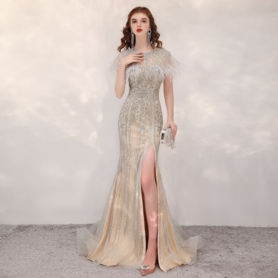 Luxury / Gorgeous Gold See-through Evening Dresses  2020 Trumpet / Mermaid Scoop Neck Short Sleeve Beading Feather Split Front Sweep Train Formal Dresses