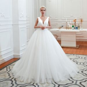Affordable Ivory Outdoor / Garden Wedding Dresses 2019 Ball Gown Deep V-Neck Sleeveless Backless Sweep Train Ruffle