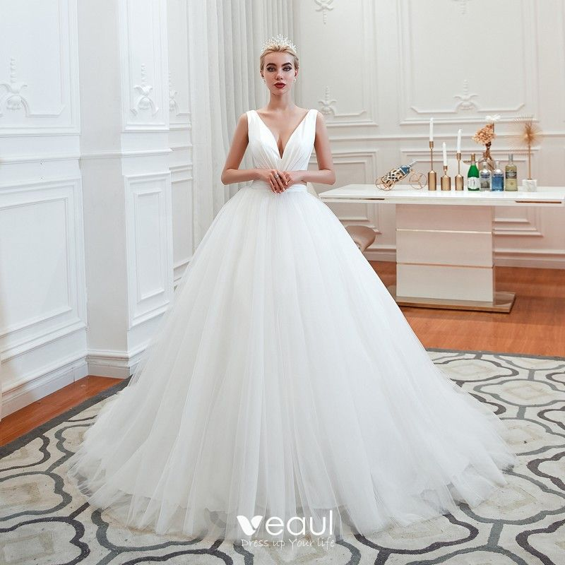 Affordable Ivory Outdoor / Garden Wedding Dresses 2019 Ball Gown Deep  V,Neck Sleeveless Backless Sweep Train Ruffle