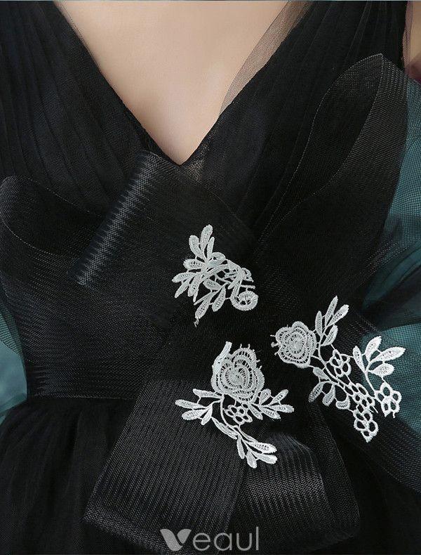 Glamorous Prom Dresses 2017 Deep V-neck Backless Black Tulle Dress