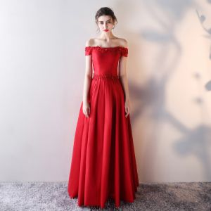 Chic / Beautiful Red Evening Dresses  2017 A-Line / Princess Lace Flower Sequins Off-The-Shoulder Backless Short Sleeve Ankle Length Formal Dresses