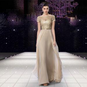 Elegant Champagne Evening Dresses  2018 A-Line / Princess Sequins Sash Scoop Neck Short Sleeve Floor-Length / Long Formal Dresses