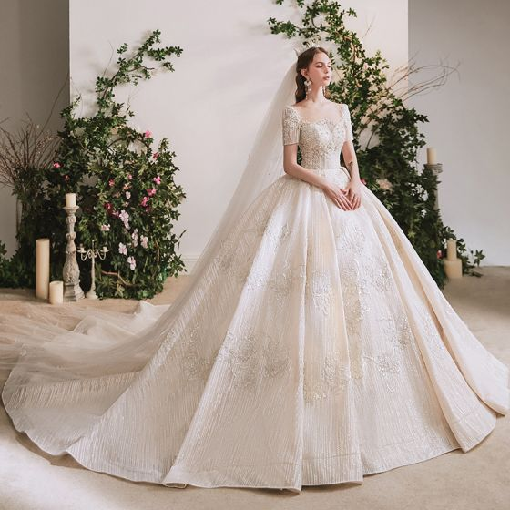Luxury / Gorgeous Champagne Bridal Wedding Dresses 2020 Ball Gown See-through Scoop Neck Short Sleeve Backless Handmade  Beading Sequins Glitter Tulle Cathedral Train Ruffle