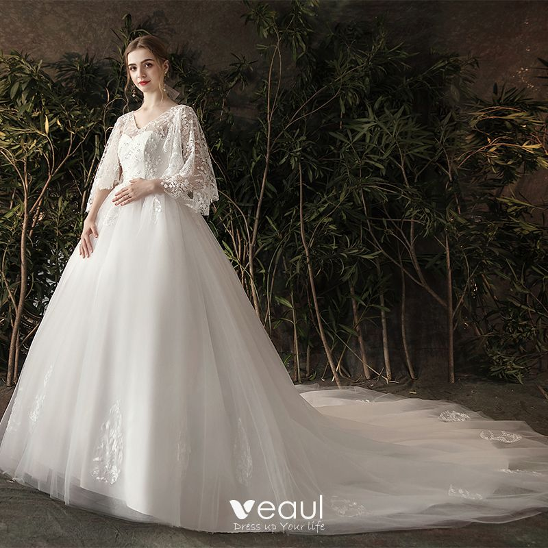 Chic Beautiful Ivory Pregnant Wedding Dresses 2019 A Line Princess V Neck Pearl Lace Flower 3 4 Sleeve Backless Chapel Train
