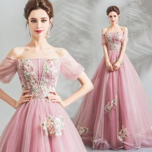 Stunning Candy Pink Prom Dresses 2019 Ball Gown Off-The-Shoulder Puffy Short Sleeve Appliques Lace Floor-Length / Long Ruffle Backless Formal Dresses