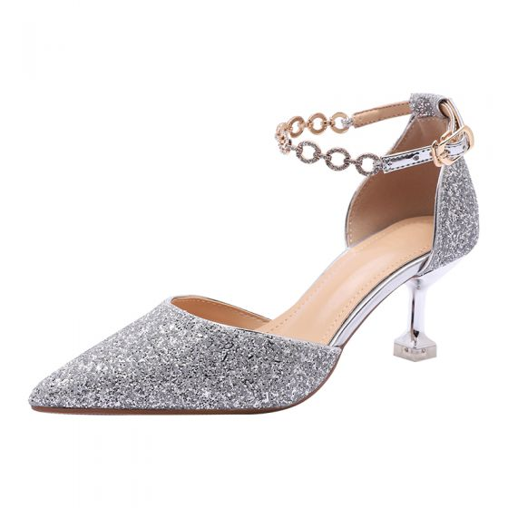 Glitter Zilveren Pailletten Bruidsschoenen 2020 Rhinestone Enkelband 5 cm Naaldhakken / Stiletto Spitse Neus Huwelijk Sandalen