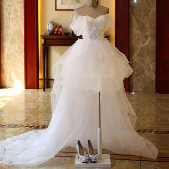 Affordable Ivory Short Asymmetrical Wedding Dresses 2019 A-Line / Princess Off-The-Shoulder Short Sleeve Appliques Lace Backless Beading Pearl Ruffle