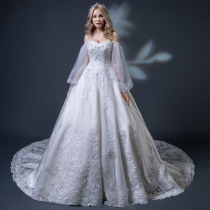 Elegant Champagne Wedding Dresses 2018 Ball Gown Off-The-Shoulder Long Sleeve Backless Appliques Lace Beading Ruffle Cathedral Train