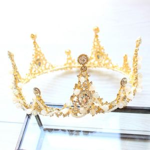 Luxus Brudesmykker 2017 Guld Hvide Krystal Rhinestone Metal Tiara