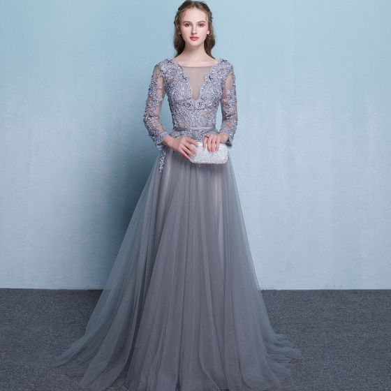 Illusion Grey Evening Dresses  2018 A-Line / Princess Scoop Neck Long Sleeve Appliques Lace Beading Sash Court Train Ruffle Backless Formal Dresses
